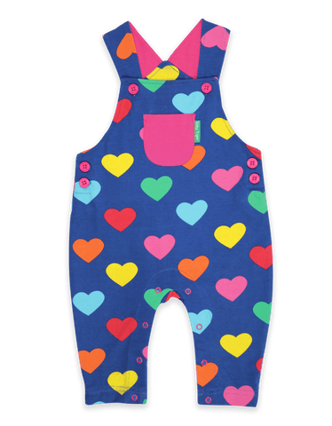 Toby Tiger Multi Heart Print Dungarees