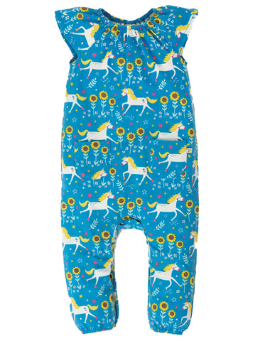 Image of Frugi Dory Gathered Playsuit - Unicorn Skates
