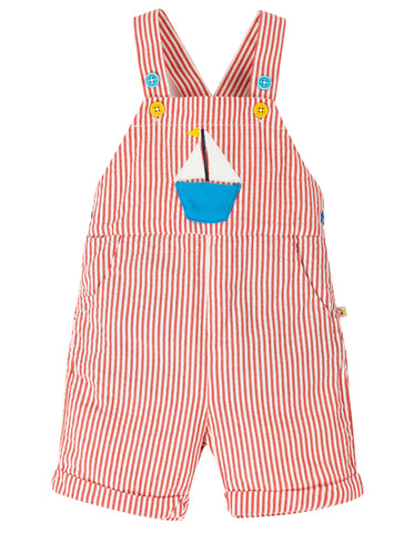 Image of Frugi Godrevy Dungaree -  Koi Red Seersucker/Boat