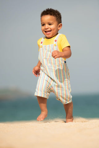 Image of Frugi Godrevy Dungaree -  Multi Seersucker Stripe