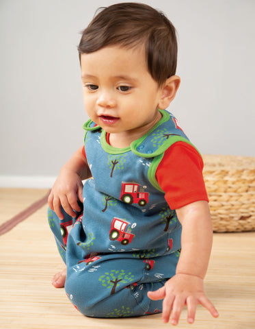 Frugi Kneepatch Dungaree - Tractor Fields