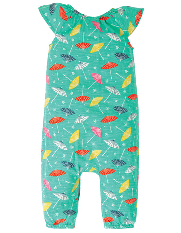 Frugi Niamh Gathered Playsuit - Pacific Aqua Parasols