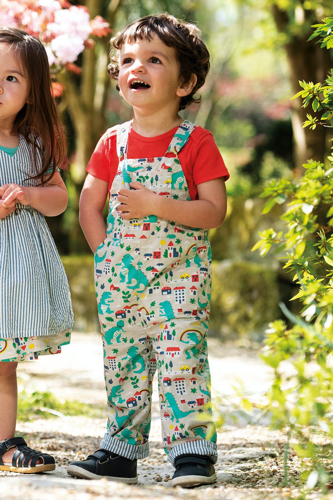Frugi Rory Reversible Dungaree - Seersucker Stripe/Dino