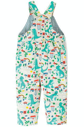 Image of Frugi Rory Reversible Dungaree - Seersucker Stripe/Dino