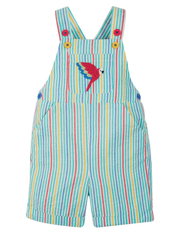 Image of Frugi Godrevy Dungaree - Multi Stripe/Parakeet