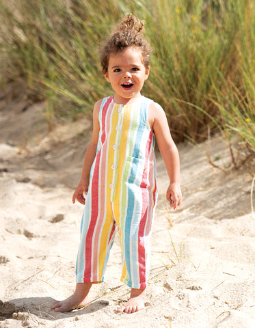 Frugi Jesse Dungaree -  Rainbow Stripe