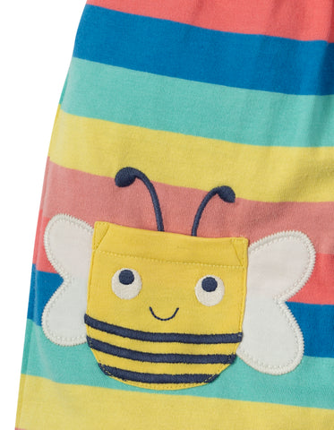 Image of Frugi Beau Beach Dungaree - Bright Rainbow Stripe/Bee - Tilly & Jasper