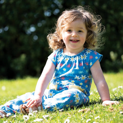 Frugi Dory Gathered Playsuit - Flower Farm - Tilly & Jasper
