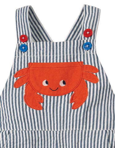 Image of Frugi Godrevy Dungaree -  Seersucker/Crab - Tilly & Jasper