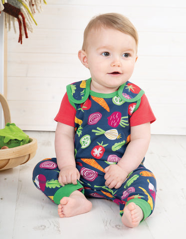 Image of Frugi Kneepatch Dungaree - Homegrown - Tilly & Jasper
