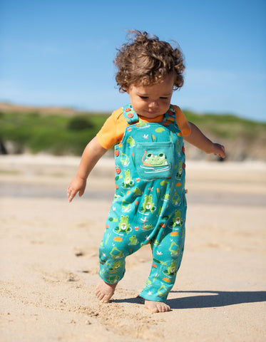 Image of Frugi Lovely Day Dungaree - Samson Green Frog Pond - Tilly & Jasper