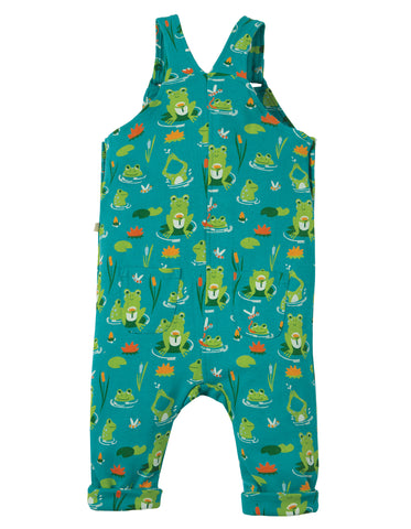Image of Frugi Lovely Day Dungaree - Samson Green Frog Pond