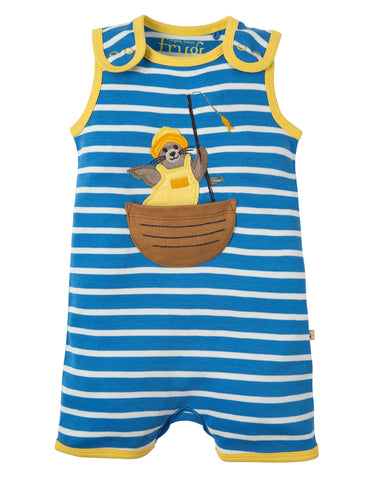 Image of Frugi Lundy Dungaree -  Sail Blue Chunky Breton/Seal - Tilly & Jasper