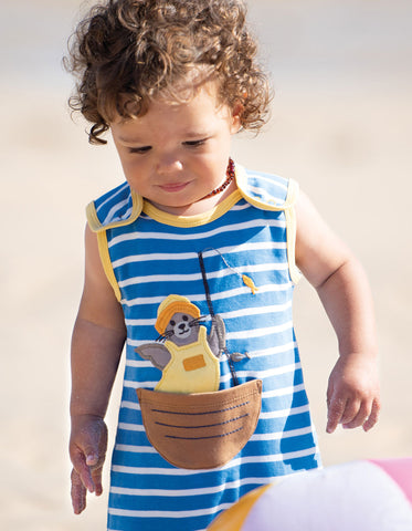 Frugi Lundy Dungaree -  Sail Blue Chunky Breton/Seal