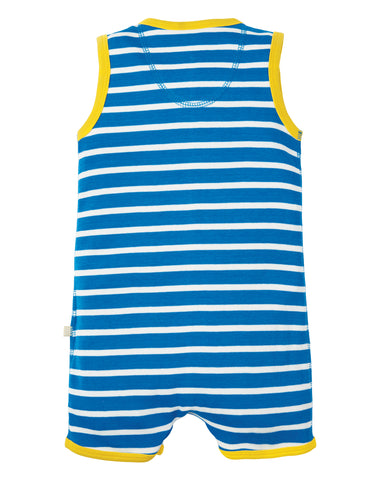 Frugi Lundy Dungaree -  Sail Blue Chunky Breton/Seal - Tilly & Jasper