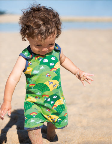 Frugi Lundy Printed Dungaree - Rainbow Fields