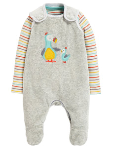 Frugi Snuggly Velour Outfit - Grey Marl/Dodos