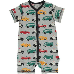 Maxomorra Short Sleeve Rompersuit Button - Traffic