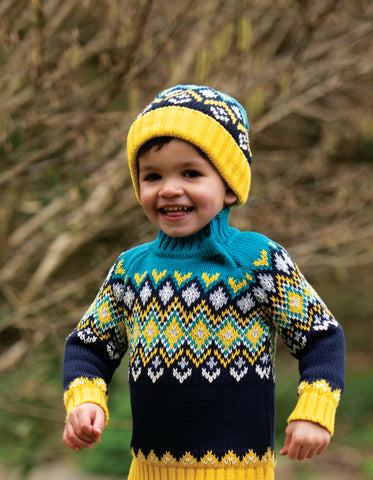 Frugi Blizzard Bobble Hat - Bumble Bee Fairisle