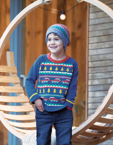 Image of Frugi Blizzard Bobble Hat - Campfire Multistripe