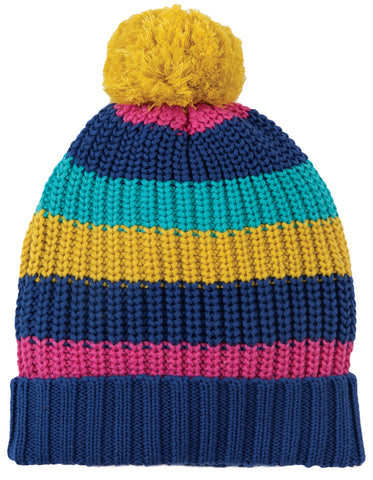 Frugi Blizzard Bobble Hat - Gorse Multistripe