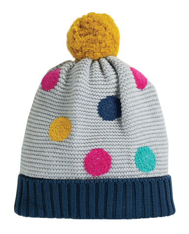 Frugi Evie Embroidered Bobble Hat- Grey Marl/Multi Spot - Tilly & Jasper