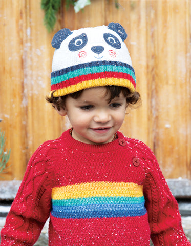 Image of Frugi Friendly Face Knitted Hat - Panda