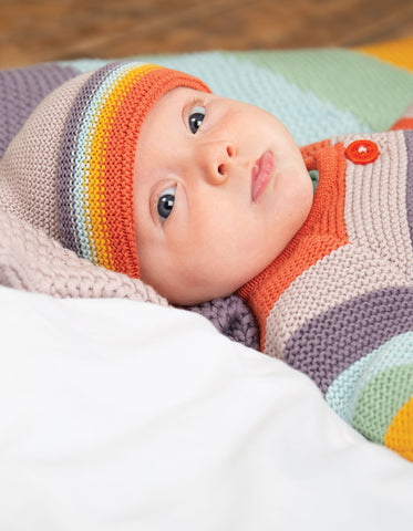 Image of Frugi Harlow Knitted Hat - Soft Rainbow - Tilly & Jasper