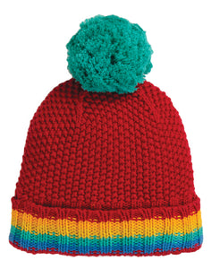 Frugi Blizzard Bobble Hat - Tango Red/Rainbow - Tilly & Jasper