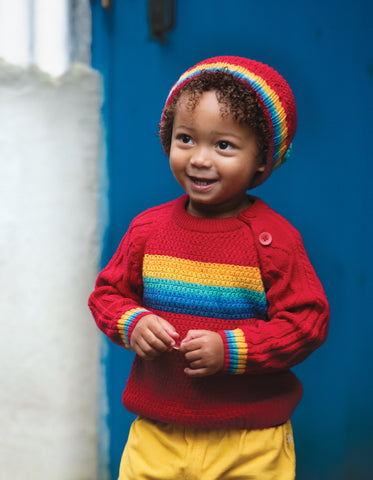 Image of Frugi Blizzard Bobble Hat - Tango Red/Rainbow - Tilly & Jasper