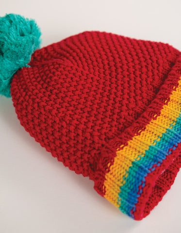 Frugi Blizzard Bobble Hat - Tango Red/Rainbow
