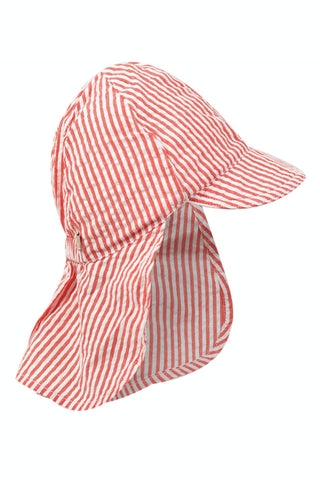 Frugi Seersucker Legionnaires Hat - Koi Red Stripe