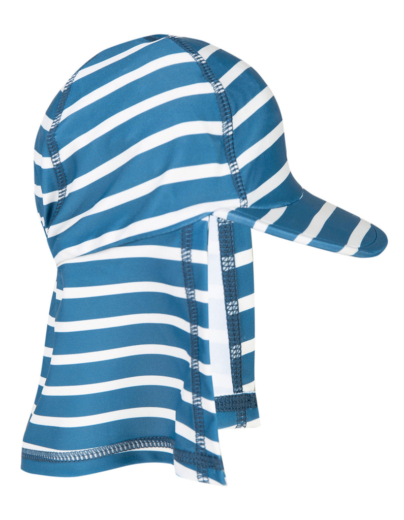 Frugi Little Swim Legionnaires Hat - Steely Blue Stripe
