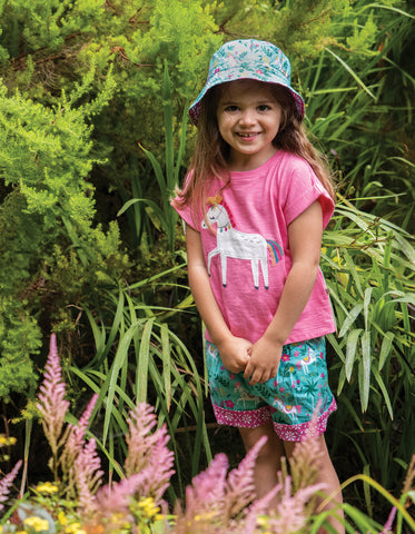 Frugi Heidi Reversible Hat- Aqua Indian Horse