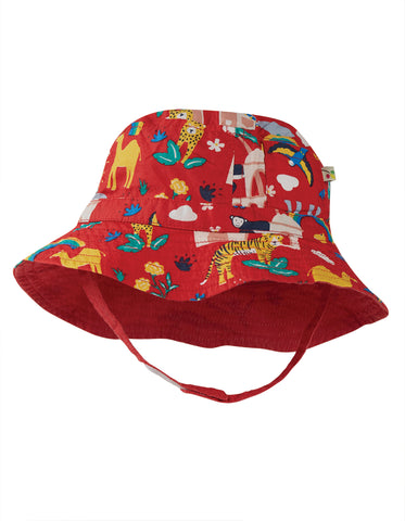 Frugi Little Dexter Reversible hat - True Red India