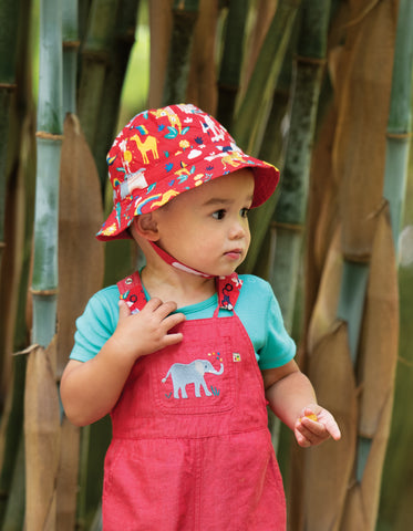 Image of Frugi Little Dexter Reversible hat - True Red India