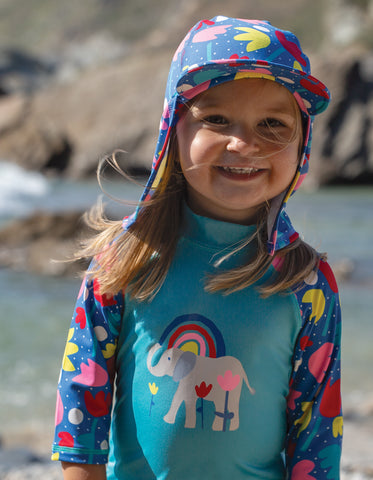 Frugi Little Swim Legionnaires Hat - Lotus Bloom