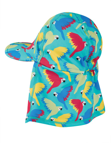 Image of Frugi Little Swim Legionnaires Hat - Aqua Parrots