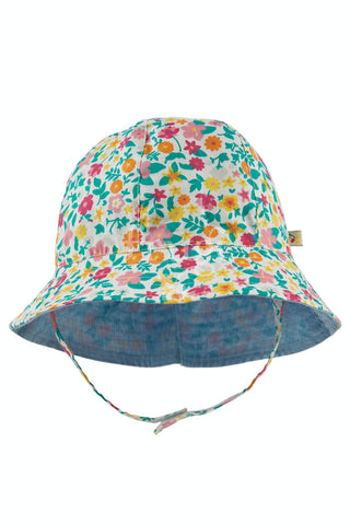 Image of Frugi Chambray Reversible hat - Soft White/Flowers