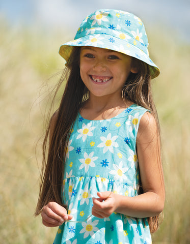 Image of Frugi Hayley Reversible Hat - Daffodil Days - Tilly & Jasper