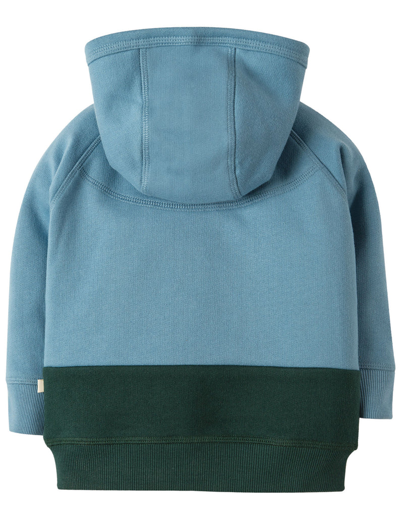 Frugi Farmyard Hoody - River Blue/Tractor - Organic Cotton