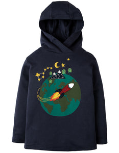 Frugi Campfire Hooded Top - Navy/World - Tilly & Jasper