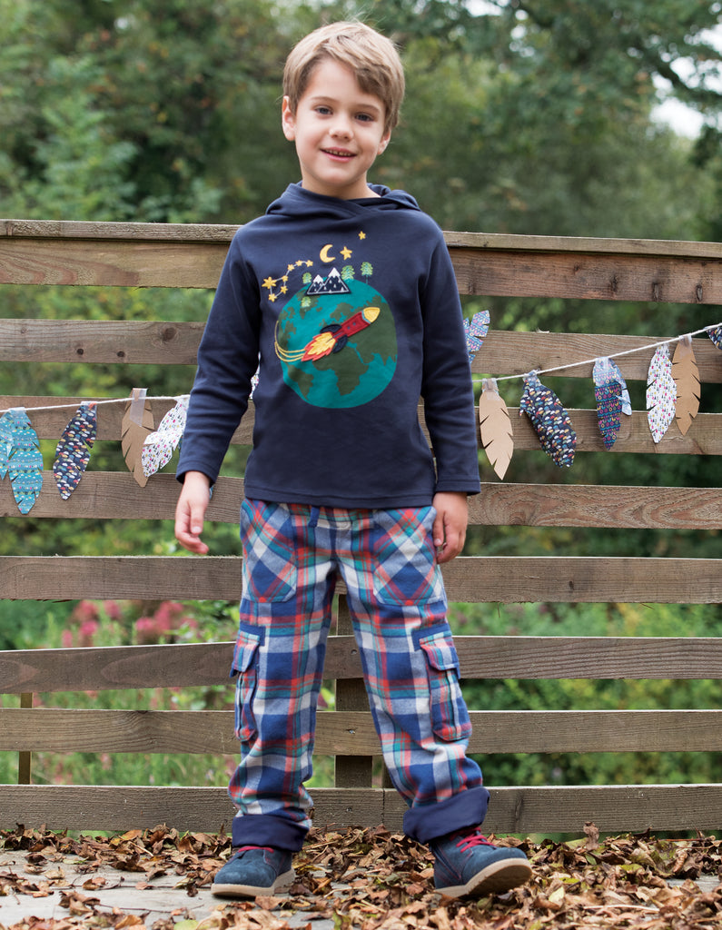 Frugi Campfire Hooded Top - Navy/World - Organic Cotton