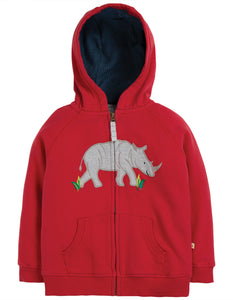 Frugi Lucas Zip Up Hoody - Tango Red/Rhino
