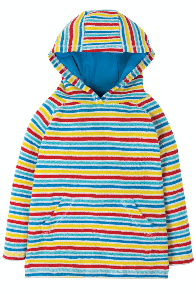 Frugi Towelling Hoody - Soft White Rainbow Stripe