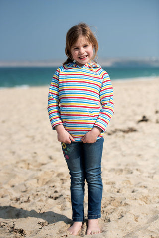 Image of Frugi Towelling Hoody - Soft White Rainbow Stripe