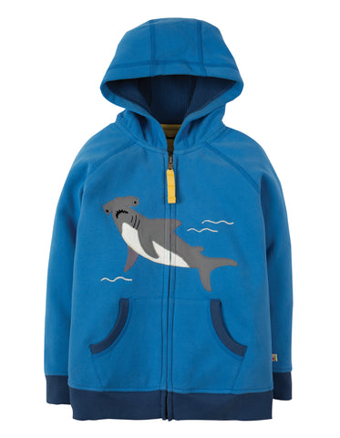 Image of Frugi Lucas Zip Up Hoody - Sail Blue / Shark