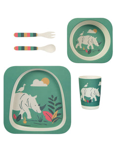 Frugi Bamboo Dinner Set - Rhinos - Tilly & Jasper