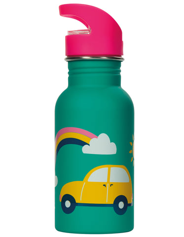 Image of Frugi Splish Splash Steel Bottle - Aqua Rainbow Roads - Tilly & Jasper