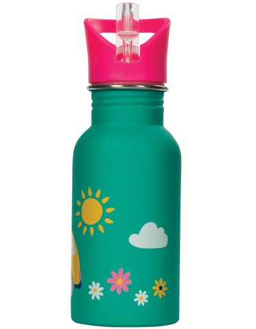 Frugi Splish Splash Steel Bottle - Aqua Rainbow Roads